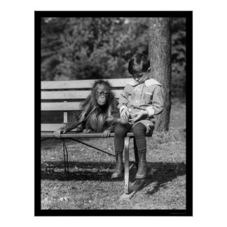Orangutan and Boy in Park 1920 Poster