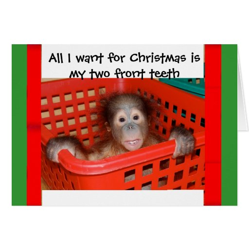 Orangutan Baby Christmas carol Greeting Card