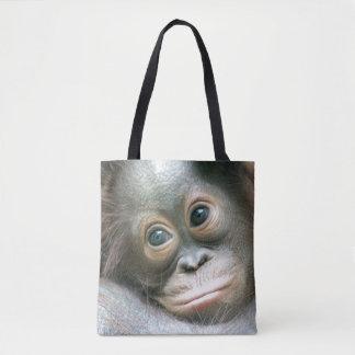 Orangutan Baby Clinging To His Mother Tote Bag