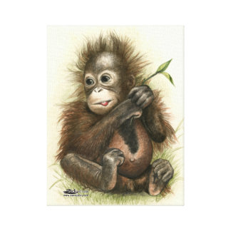 Orangutan Baby With Leaves Canvas Print