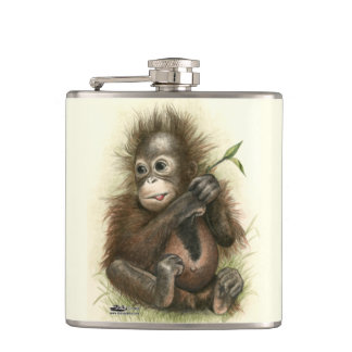 Orangutan Baby With Leaves Flasks
