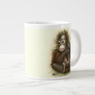Orangutan Baby With Leaves Large Coffee Mug