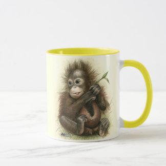 Orangutan Baby With Leaves Mug