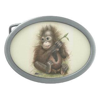 Orangutan Baby With Leaves Oval Belt Buckles