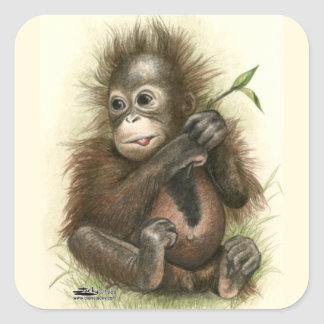 Orangutan Baby With Leaves Square Sticker