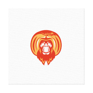 Orangutan Bearded Front Retro Canvas Print