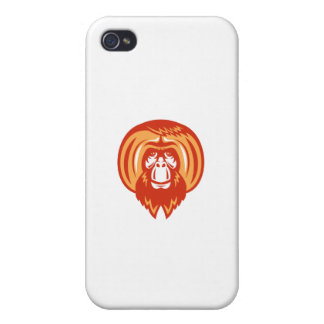 Orangutan Bearded Front Retro iPhone 4/4S Case