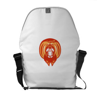 Orangutan Bearded Front Retro Messenger Bags