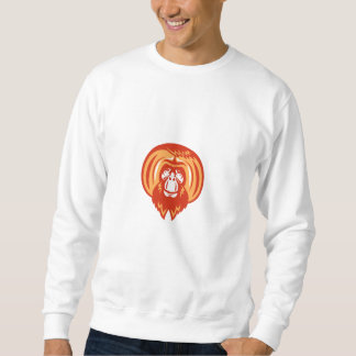 Orangutan Bearded Front Retro Sweatshirt