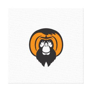Orangutan Bearded Tussled Hair Retro Canvas Print