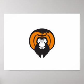 Orangutan Bearded Tussled Hair Retro Poster