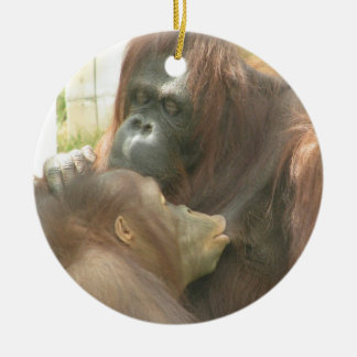 Orangutan Breastfeeding Ceramic Ornament