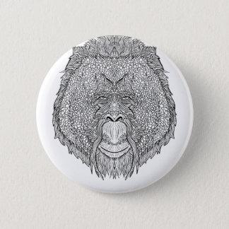 Orangutan Monkey Tee - Tattoo Art Style Coloring 2 Inch Round Button