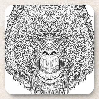 Orangutan Monkey Tee - Tattoo Art Style Coloring Coaster