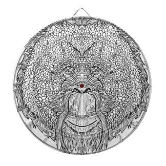 Orangutan Monkey Tee - Tattoo Art Style Coloring Dartboard