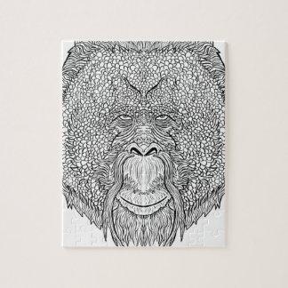 Orangutan Monkey Tee - Tattoo Art Style Coloring Jigsaw Puzzle