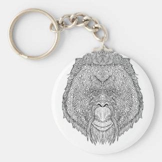 Orangutan Monkey Tee - Tattoo Art Style Coloring Keychain