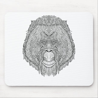 Orangutan Monkey Tee - Tattoo Art Style Coloring Mouse Pad