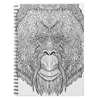 Orangutan Monkey Tee - Tattoo Art Style Coloring Notebooks