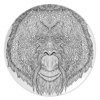 Orangutan Monkey Tee - Tattoo Art Style Coloring Plate