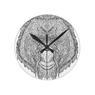 Orangutan Monkey Tee - Tattoo Art Style Coloring Round Clock
