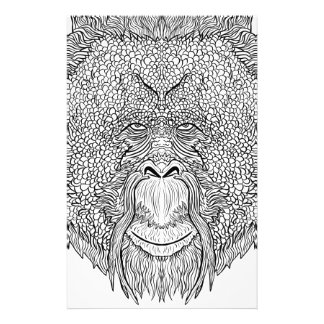 Orangutan Monkey Tee - Tattoo Art Style Coloring Stationery