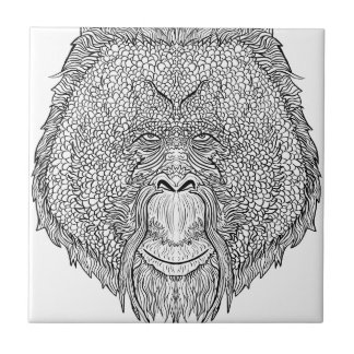 Orangutan Monkey Tee - Tattoo Art Style Coloring Tile