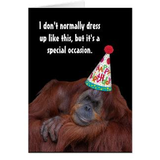 Orangutan Party Hat Happy Birthday Card
