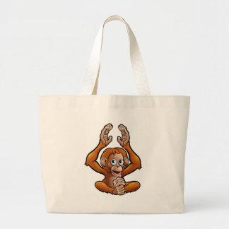 Orangutan Safari Animals Cartoon Character Large Tote Bag
