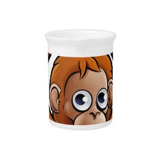 Orangutan Safari Animals Cartoon Character Pitcher