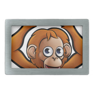 Orangutan Safari Animals Cartoon Character Rectangular Belt Buckle