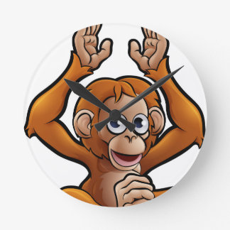 Orangutan Safari Animals Cartoon Character Round Clock