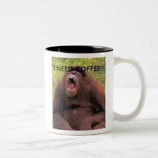 orangutan_yawn, I NEED COFFEE!! Two-Tone Coffee Mug
