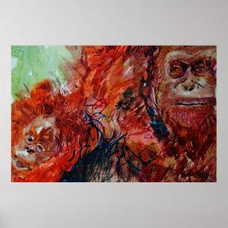 Orangutans family easy life poster