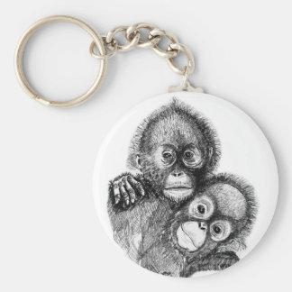 Orangutans wildlife key ring