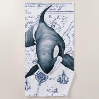 Orca Ancient Blue Beach Towel
