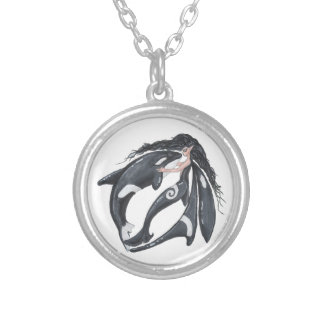 Orca and Fairy Silver Plated Necklace