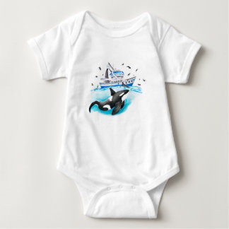 Orca And The Boat Baby Bodysuit