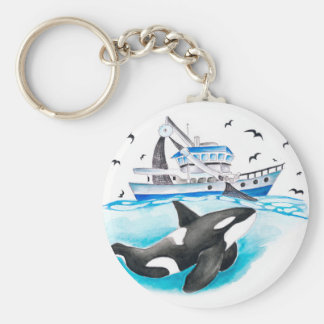 Orca And The Boat Basic Round Button Keychain