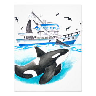 Orca And The Boat Letterhead Design