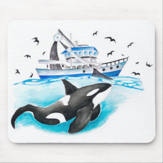 Orca And The Boat Mouse Pad