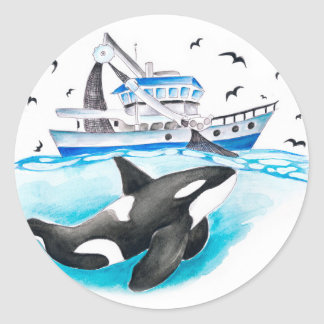 Orca And The Boat Round Sticker