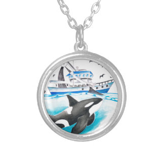Orca And The Boat Silver Plated Necklace