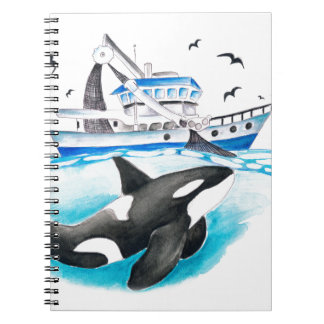 Orca And The Boat Spiral Notebook