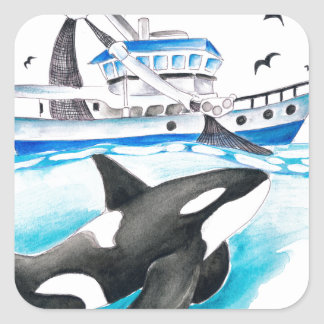Orca And The Boat Square Sticker