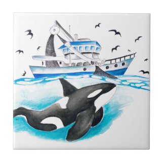 Orca And The Boat Tile