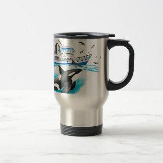 Orca And The Boat Travel Mug