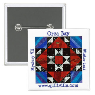 Orca Bay Mystery button, Quiltville 2 Inch Square Button