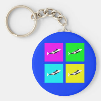 Orca Blocks In Four Colors Keychain