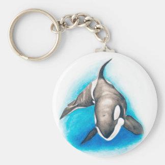 Orca Deep Dive Basic Round Button Keychain